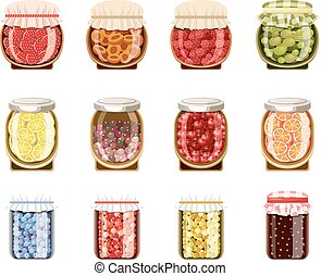Glass jars with fruit and berry jam