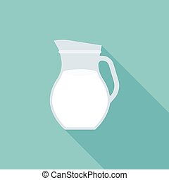 glass jug of fresh milk icon, flat design with long shadow