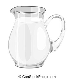 Glass jug of milk icon in cartoon style isolated on white...