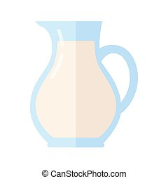 Glass Jug with Milk Isolated on White Background