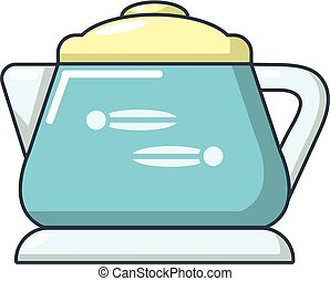 Glass kettle icon, cartoon style