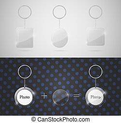 Glass keychains to insert photo. Eps 10
