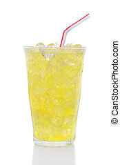 Glass Lemon Lime Soda with Drinking Straw - A glass of Lemon...
