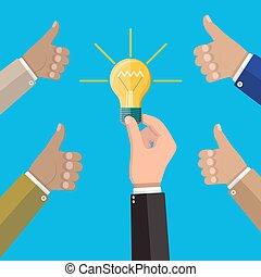 Glass light bulb in hand
