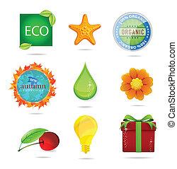 glass magic eco nature symbols set