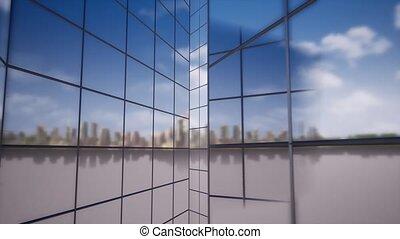 Glass maze big skyscraper building