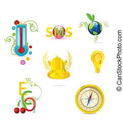 glass medic and eco symbols set