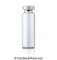 Template of transparent glass medical ampoule with aluminium cap. Packaging collection. Vector illustration.