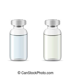 Glass medical vials with drug solution, 3d realistic vector...