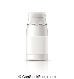 glass milk bottle with label