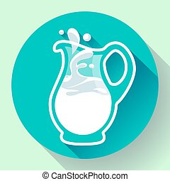 Glass milk jug with splash fresh