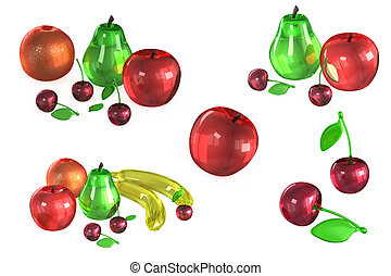 Glass Models of fruits on white background