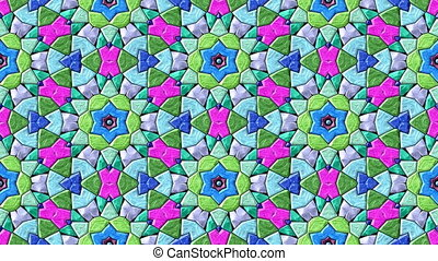 Glass mosaic kaleidoscopic video
