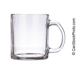 Glass mug empty blank for coffee or tea isolated on white background