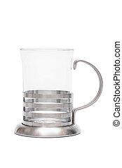glass mug in steel frame