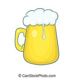 Glass mug of beer icon, cartoon style