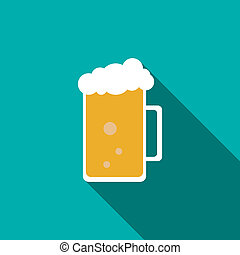 Glass mug of beer icon, flat style