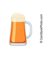 Glass mug of beer in cartoon style isolated on white background. Vector illustration
