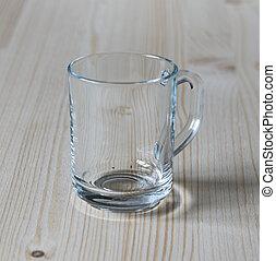 Glass mug on a wooden table