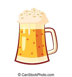 Glass mug with beer icon, cartoon style