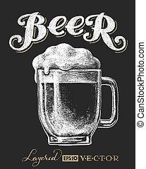Glass mug with beer - Vector illustration of chalk beer ...