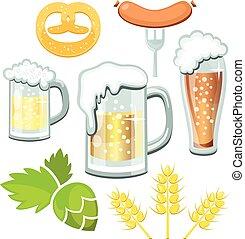 Glass mugs of beer pretzel and hop branch