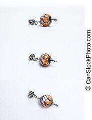 Glass multicolored orange beads