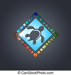 Glass Multicolored Tile Design With Abstract Turtle