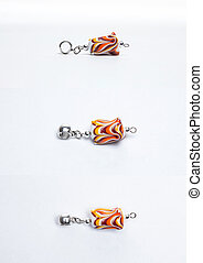 Glass multicolored yellow beads