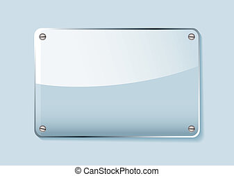 Glass name tag - Transparent clear glass company name plate...