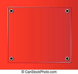 Glass Nameplate - A glass nameplate on a red background with...