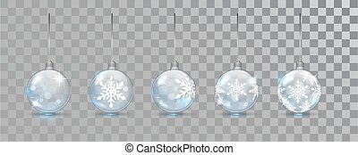 Glass New Year balls set with snowflake pattern on a transparent background. Christmas bauble for design. Xmas festive decoration objects. Xmas isolated shine decor.
