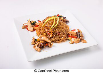Glass noodles Funchoza - Funchoza noodles with chicken on a...