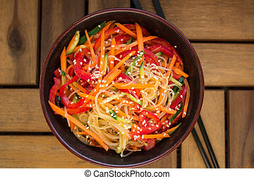 glass noodles with vegetables - glass noodles with carrot,...