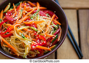 glass noodles with vegetables - glass noodles with carrot, ...