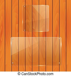 Glass Objects on a wood background