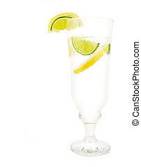 Glass of 7up with lemon and lime