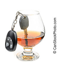 glass of alcohol and car keys. Photo isolated on white...
