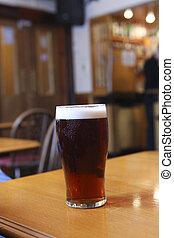 Glass of ale in pub
