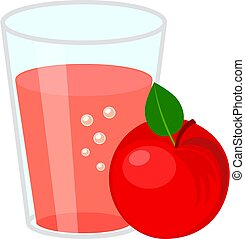 Glass of apple juice and  red apple. Simple flat vector illustration isolated on white background.