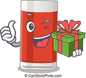Glass of apple juice cartoon character concept with a big gift box