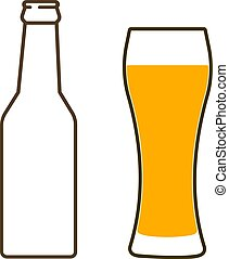 Glass of beer and bottle.