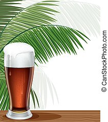 Glass of beer and palm branches - Glass of beer with foam...