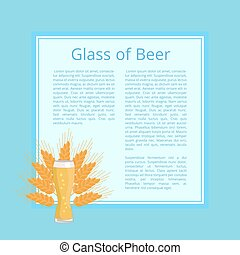 Glass of Beer Background Wheat Poster with Text