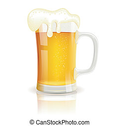 Glass of Beer with Foam, vector isolated on white background