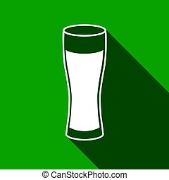 Glass of beer flat icon with long shadow. Vector Illustration