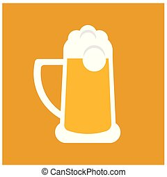 Glass of beer flat illustration on white