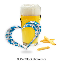 glass of beer, french fries and a heart with bavarian flag...