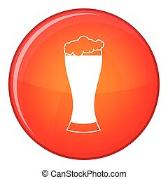 Glass of beer icon, flat style
