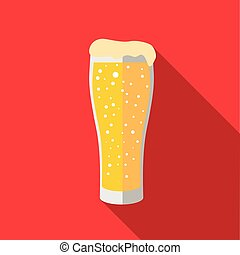 Glass of beer icon in flat style